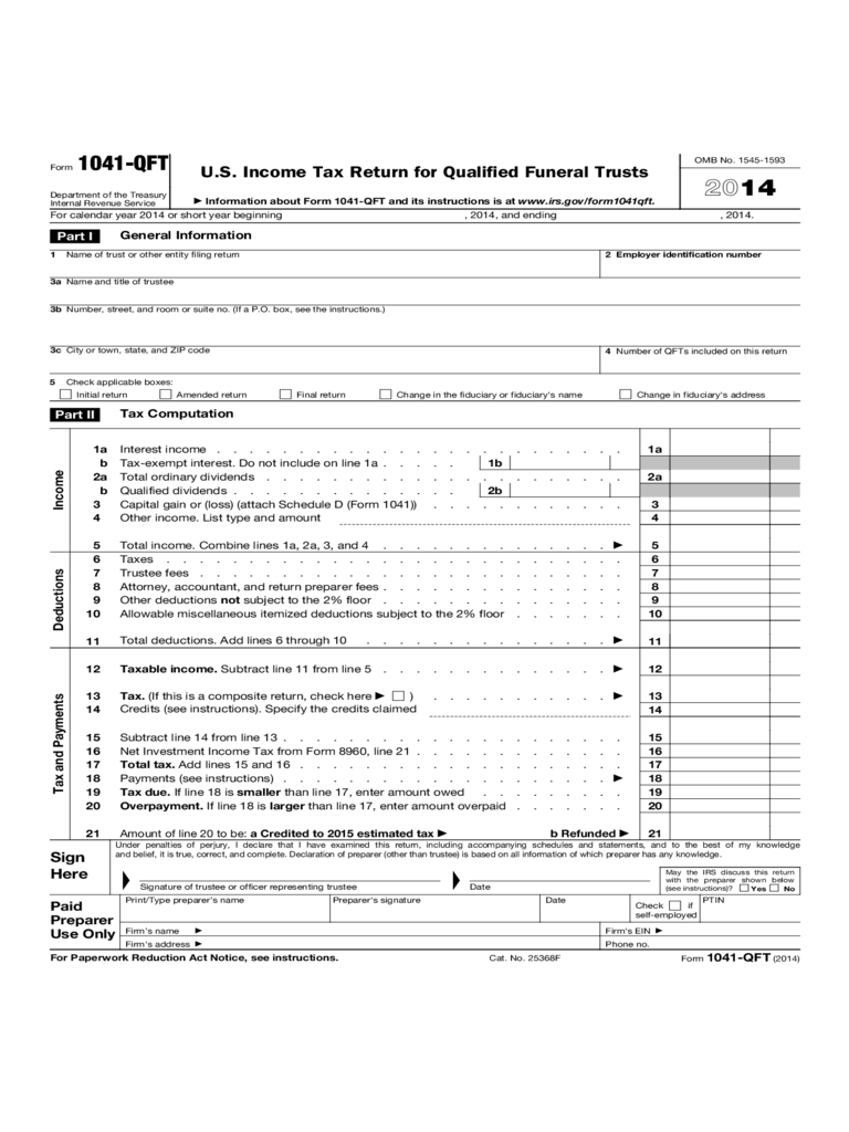 Form 1041-QFT - U.S. Income Tax Return Form for Qualified Funeral Trusts (2014)