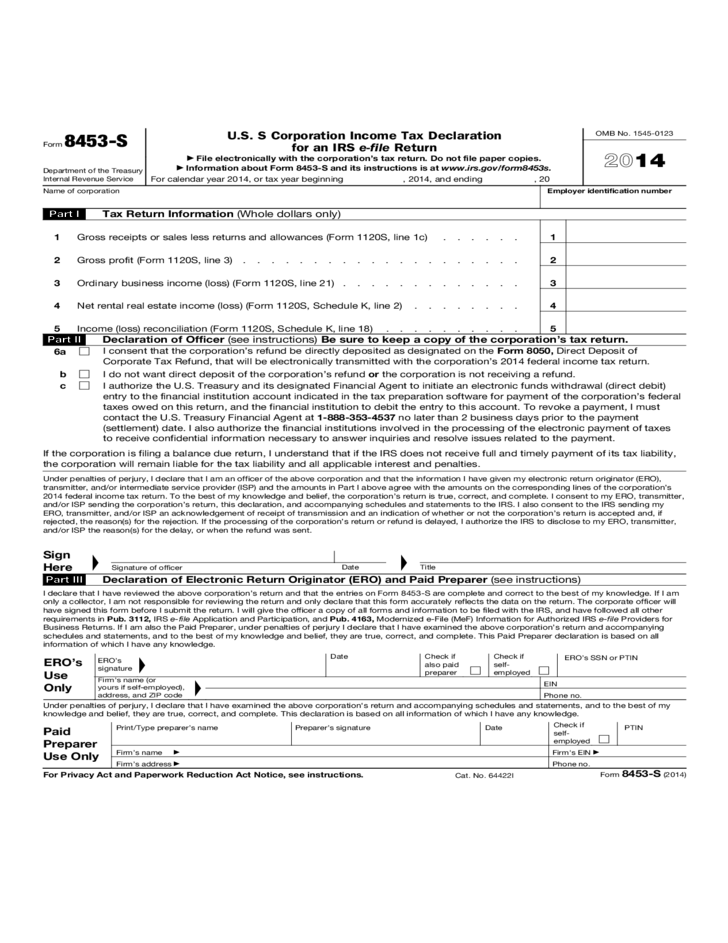 form 8453-s - u.s. s corporation income tax declaration for an irs e