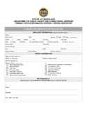 Correctional Services Application Form - Maryland Free Download