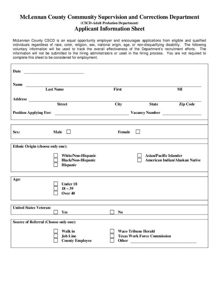 Correctional Services Application Form - McLennan