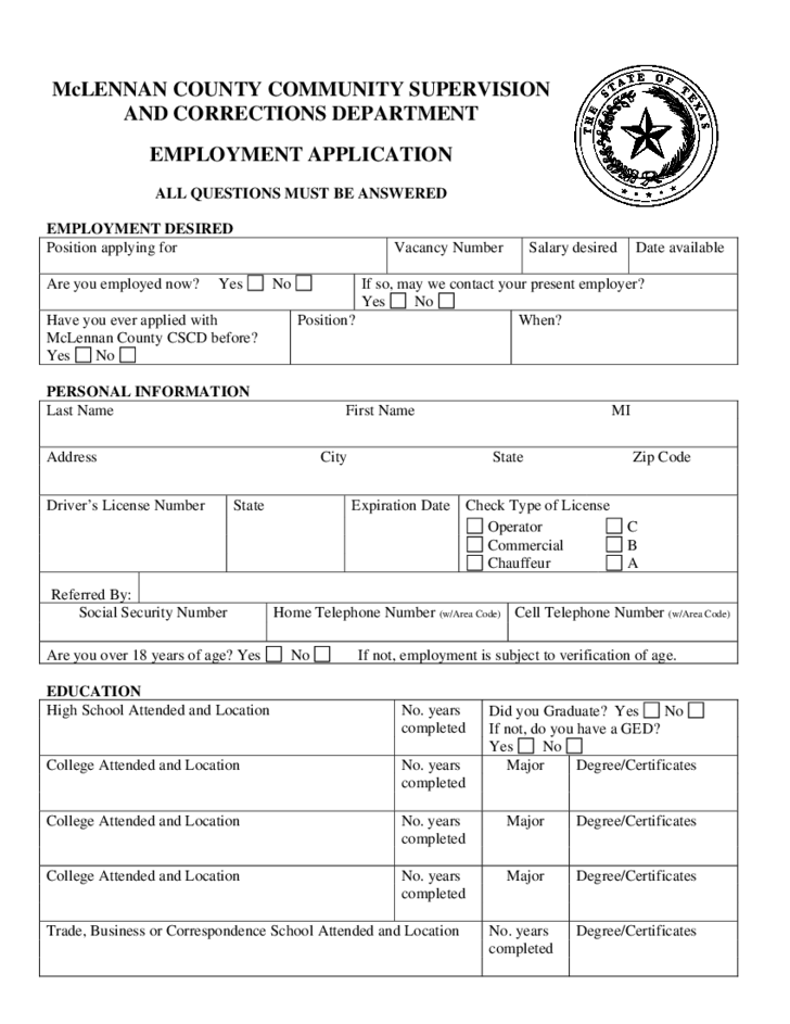 Correctional Services Application Form McLennan Free Download – Correctional Services Application Form