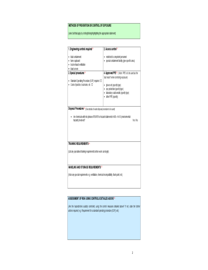 Coshh Risk Essment Form What Is A And How Do I Complete One