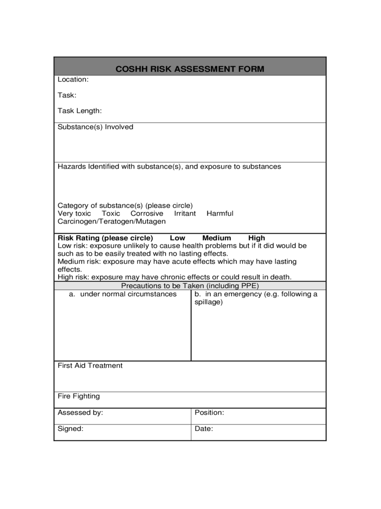 coshh risk assessment form 2 free templates in pdf word