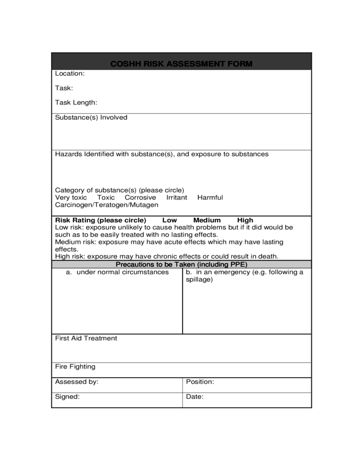 Coshh Risk Assessment Sample Form Free Download