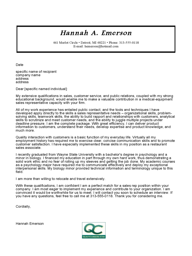 Medical Equipment Sales Cover Letter