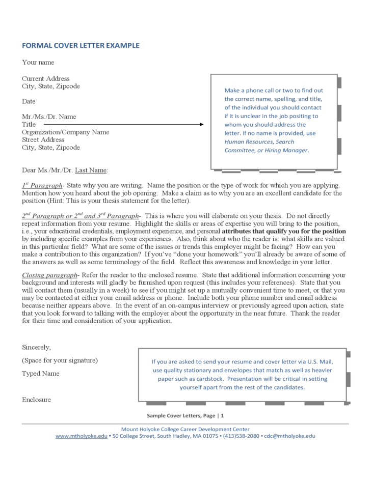 formal cover letter format example free download