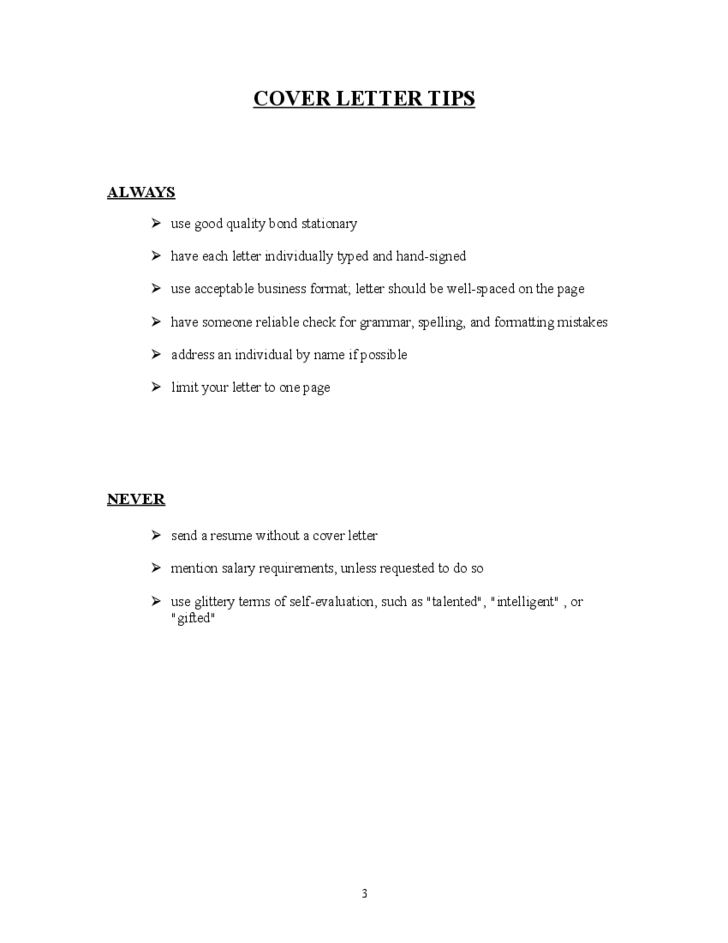 sample for resume cover letter free download