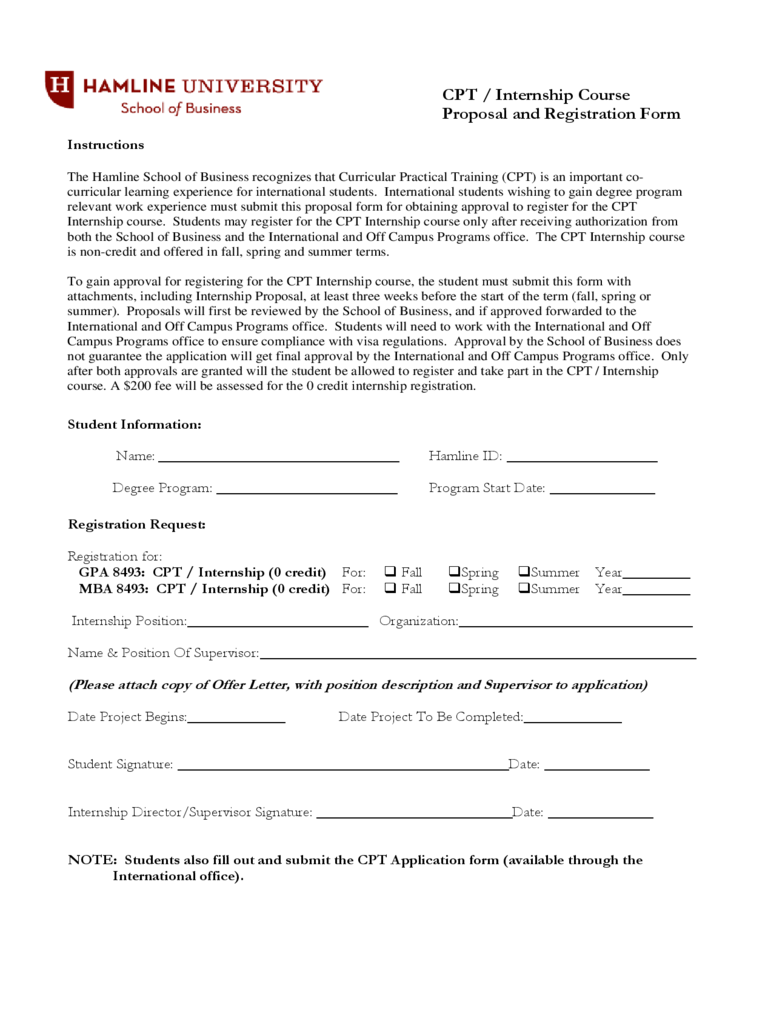 CPT / Internship Course Proposal and Registration Form - Hamline University