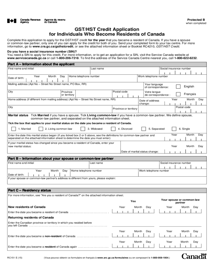 Credit Application for Individuals Who Become Residents of Canada