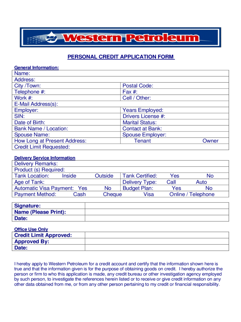 Personal Credit Application Form - Western Petroleum