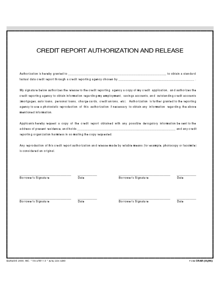 Credit Report and Authorization Release
