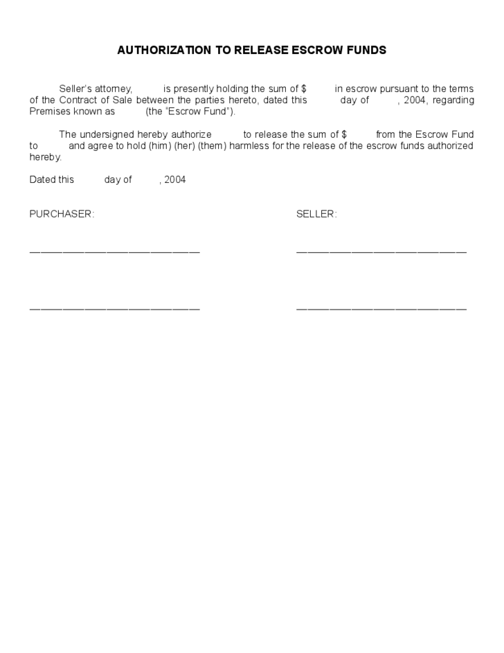 Authorization To Release Escrow Funds Free Download