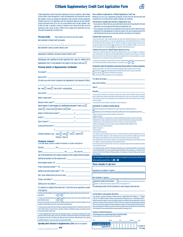 Citibank Supplementary Credit Card Application Form