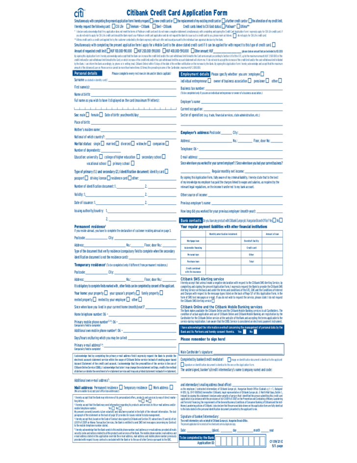 citibank credit card application form sample free download
