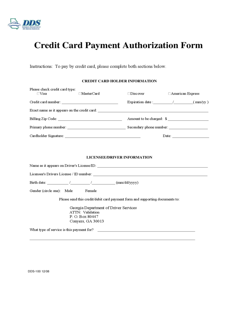 Credit Card Authorization Form - Georgia