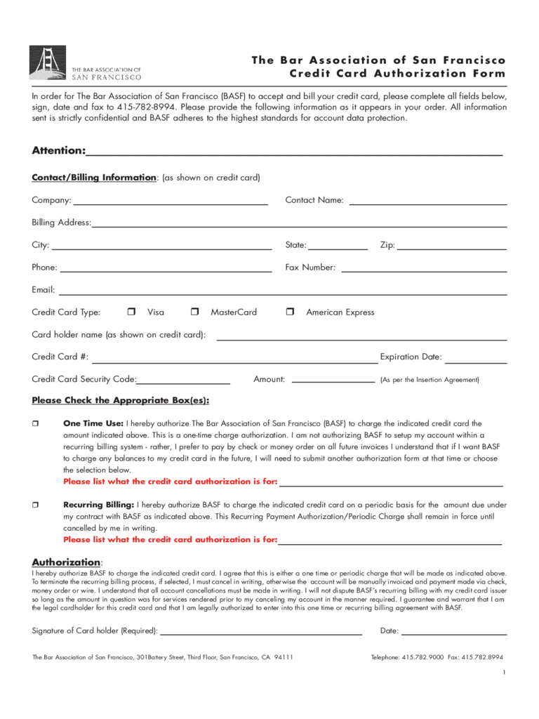 Credit Card Authorization Form - San Francisco