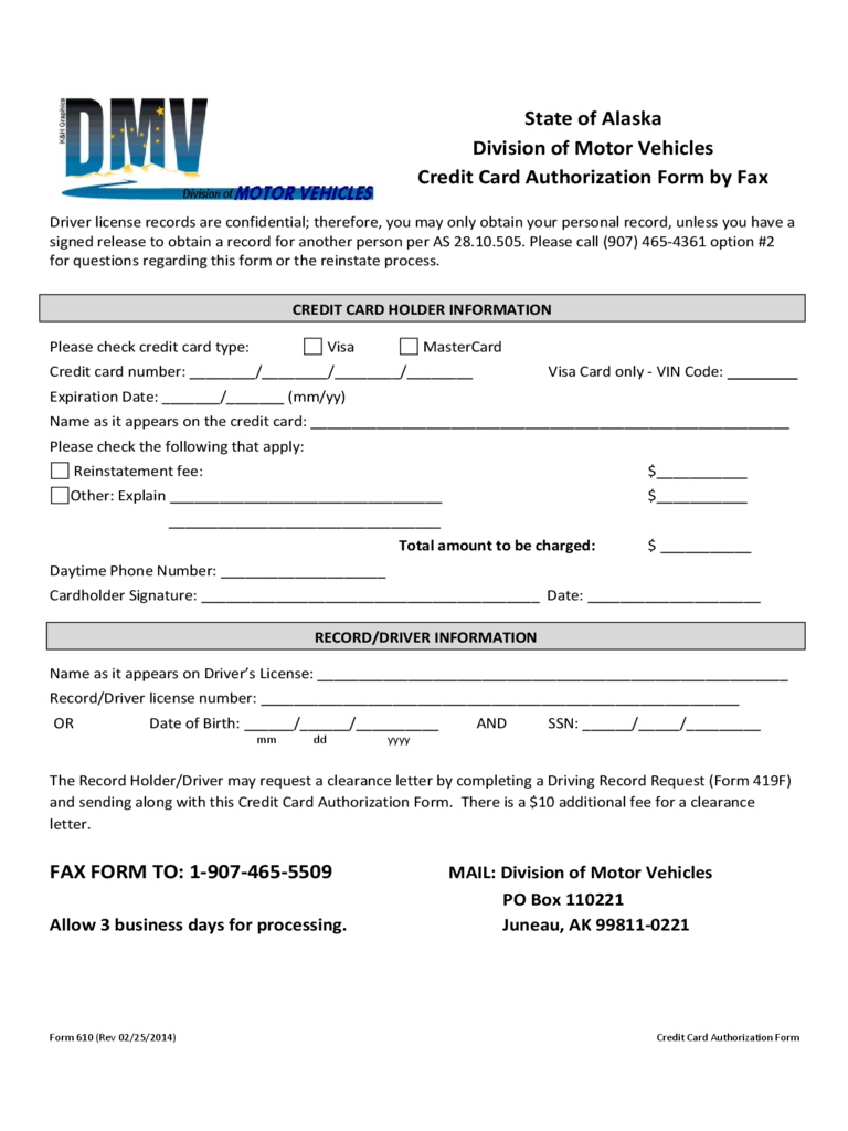 Credit Card Authorization Form - Alaska