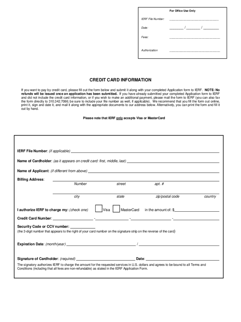 Credit Card Information Form Template