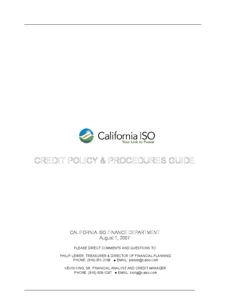 Credit Policy & Procedures Guide