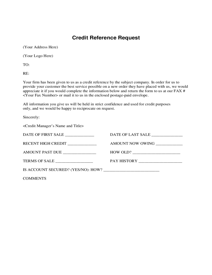 credit reference request form free download