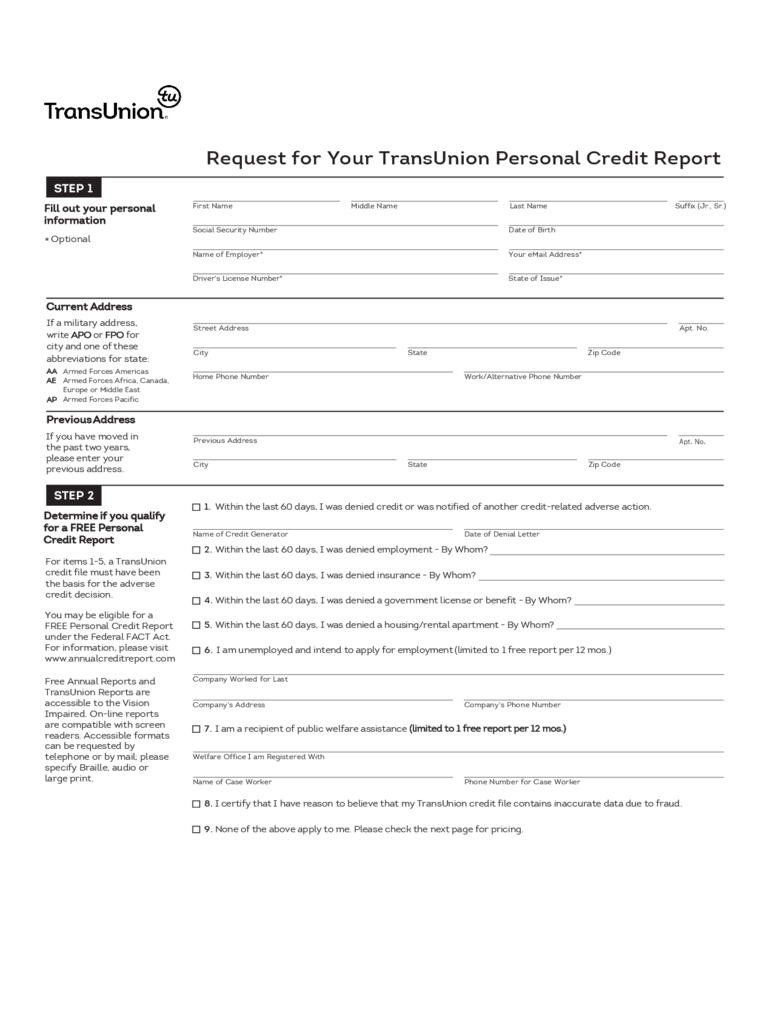 Request for Your TransUnion Credit Report