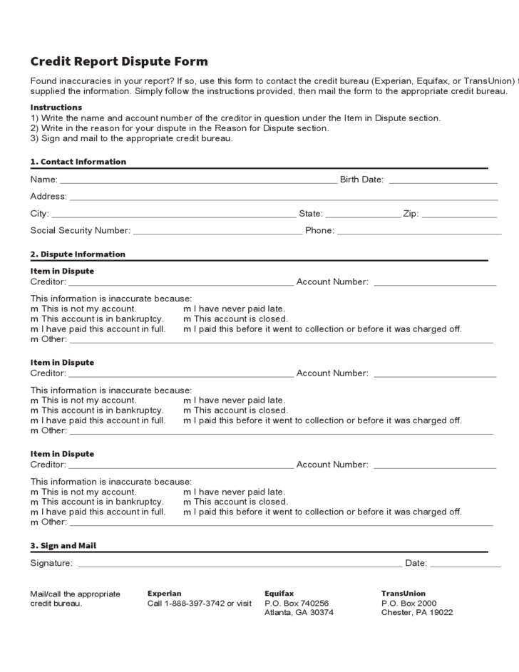 Credit report dispute form template free download for Bureau report