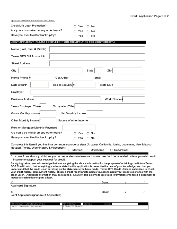 2 Credit Union Loan Application Sample Form  Loan Form Sample