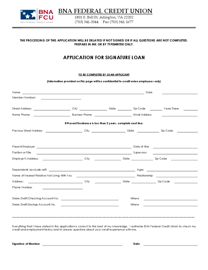credit union loan application form sample free download