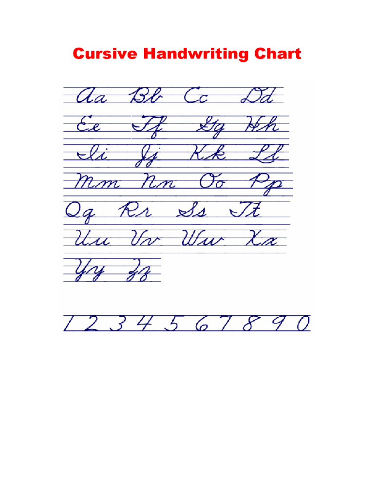 Cursive Handwriting Chart
