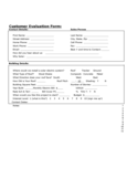 Customer Evaluation Form - California Free Download