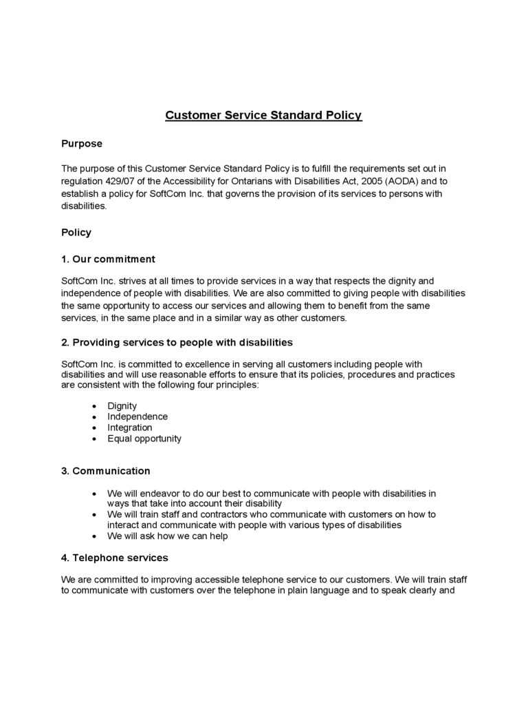 physical access control policy template - customer service policy template 2 free templates in pdf