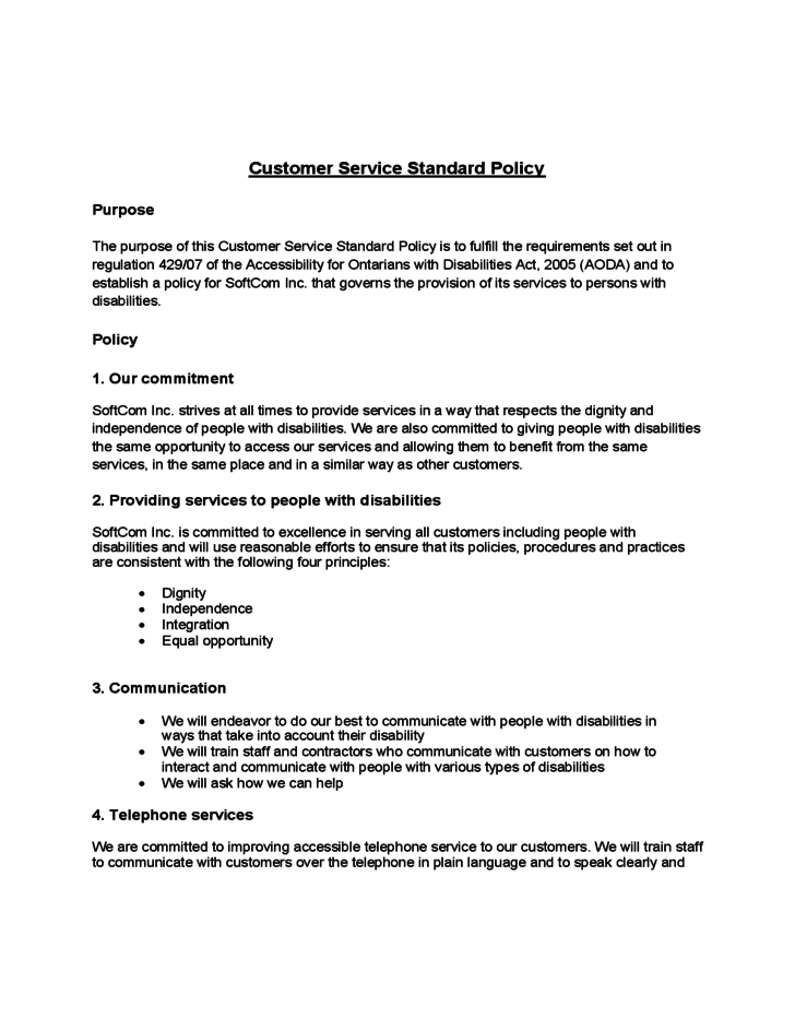 customer service standard policy free download