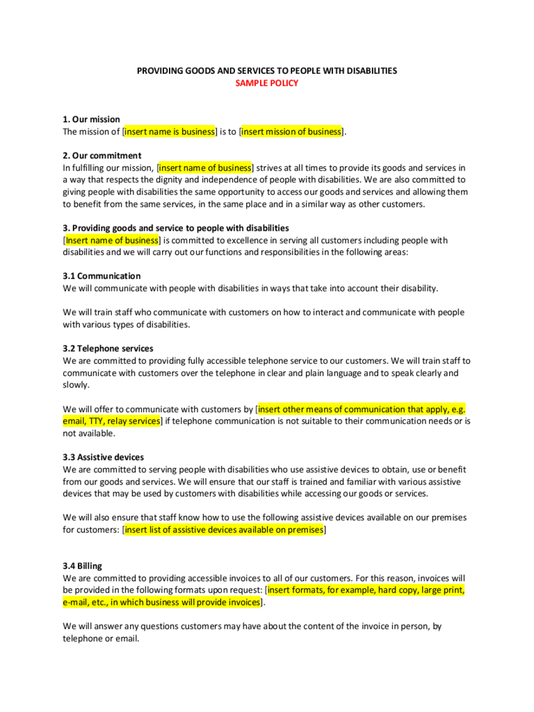 customer service policy template 2 free templates in pdf word