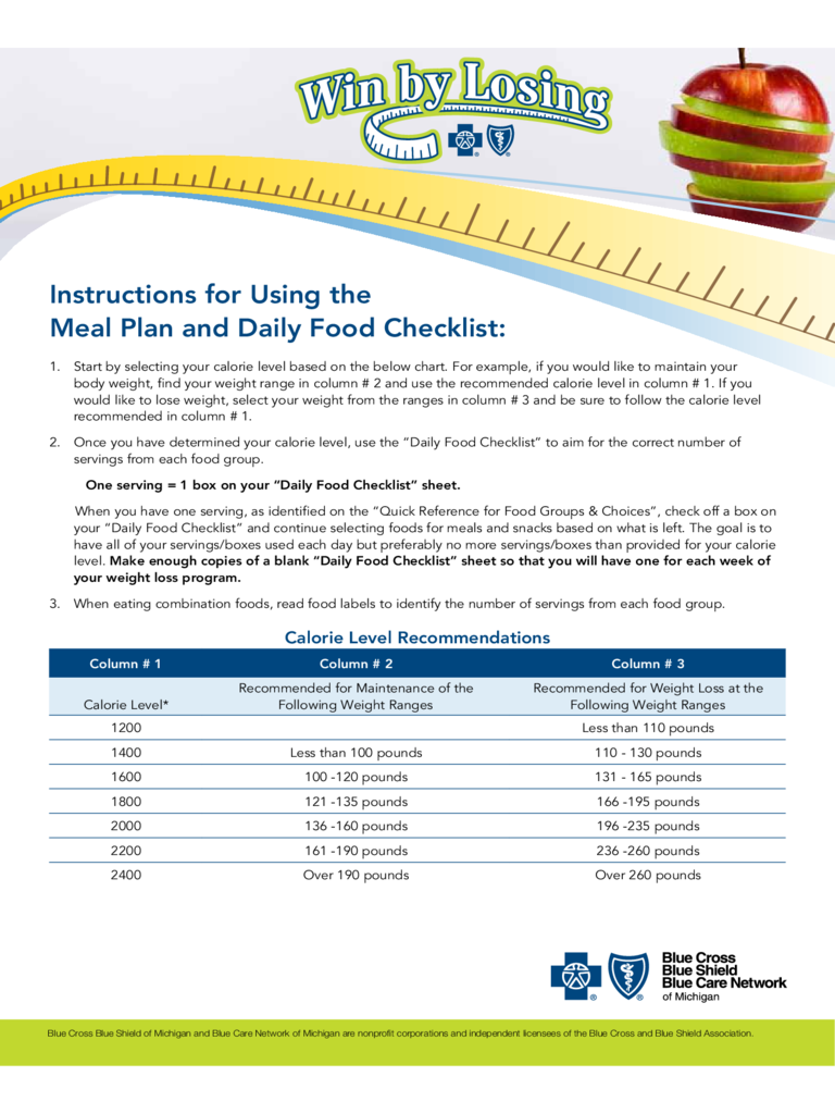 Instructions for Using the Meal Plan and Daily Food Checklist