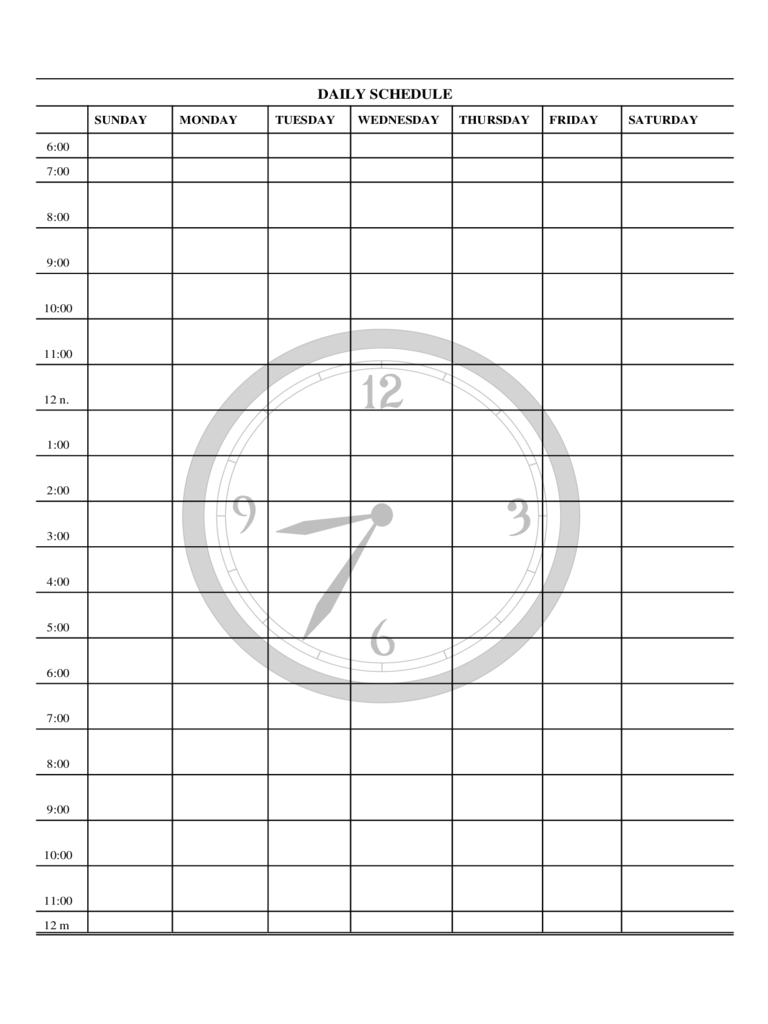 Daily School Schedule Template Aprilonthemarchco - Monday through friday schedule template
