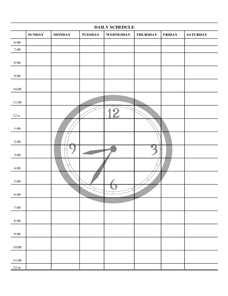daily schedule form free download