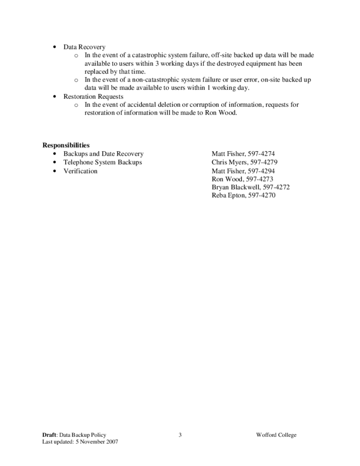 data backup policy template