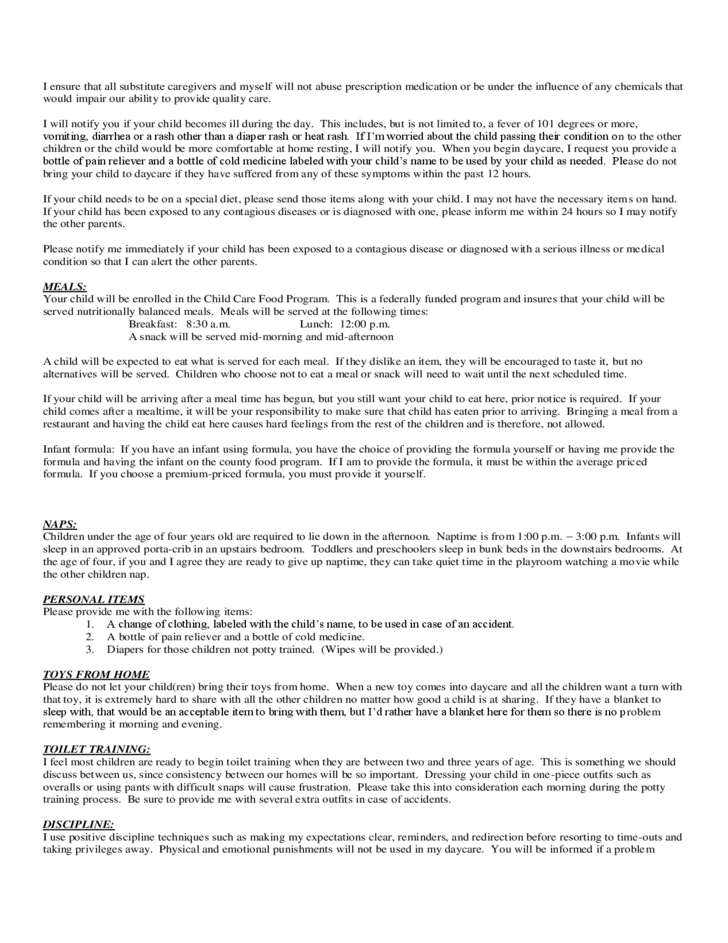 daycare contract agreement free download