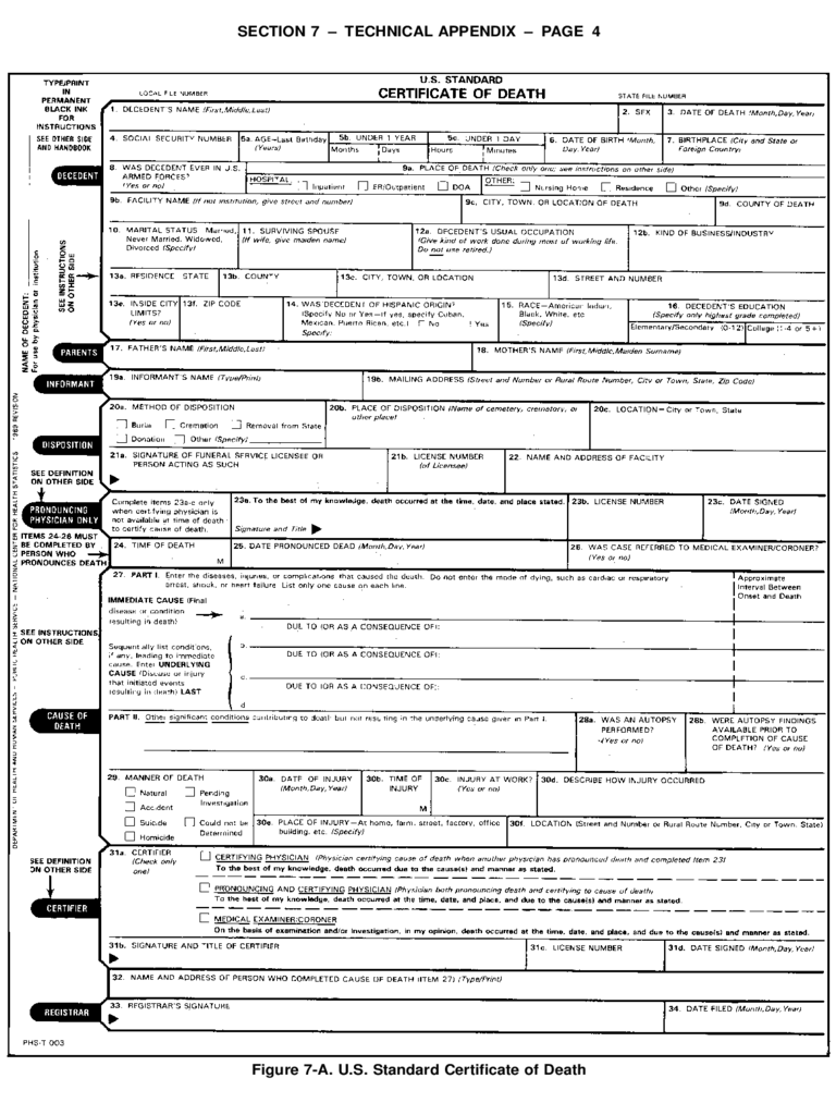 Death Certificate Form - 5 Free Templates in PDF, Word, Excel Download