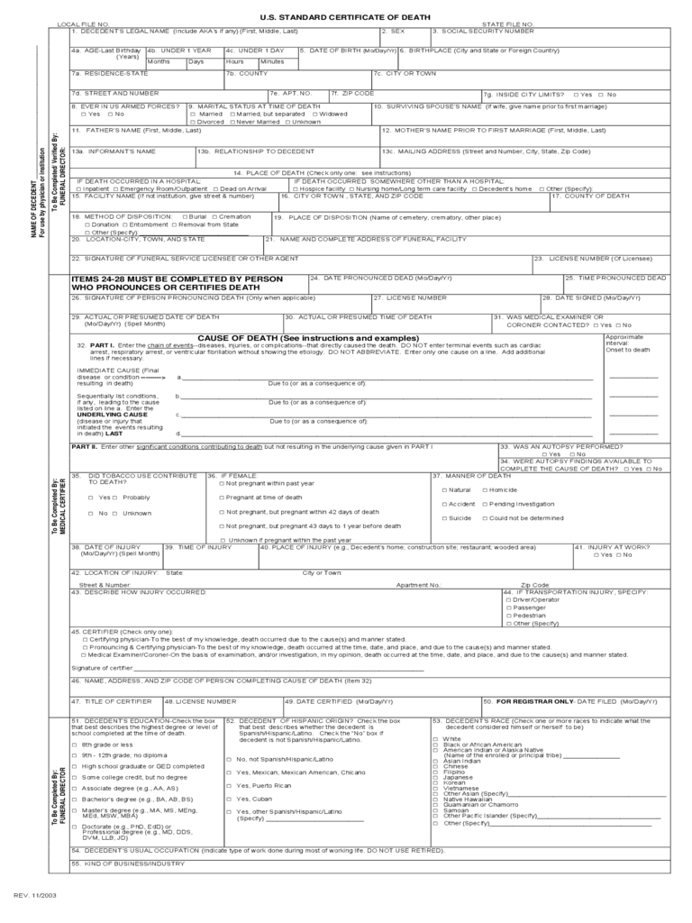 U.S. Standard Certificate of Death Form