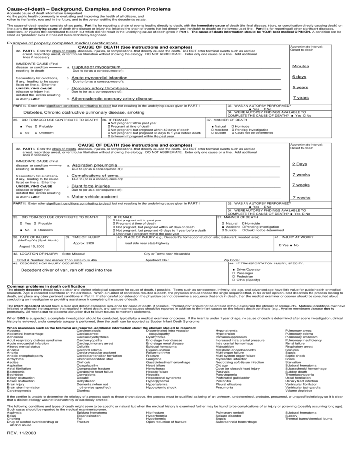 u s  standard certificate of death form free download