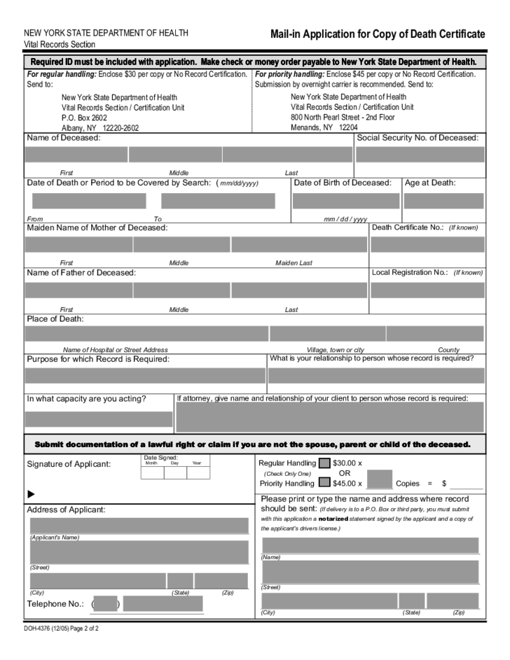 Mail-in Application for Copy of Death Certificate - New York Free ...