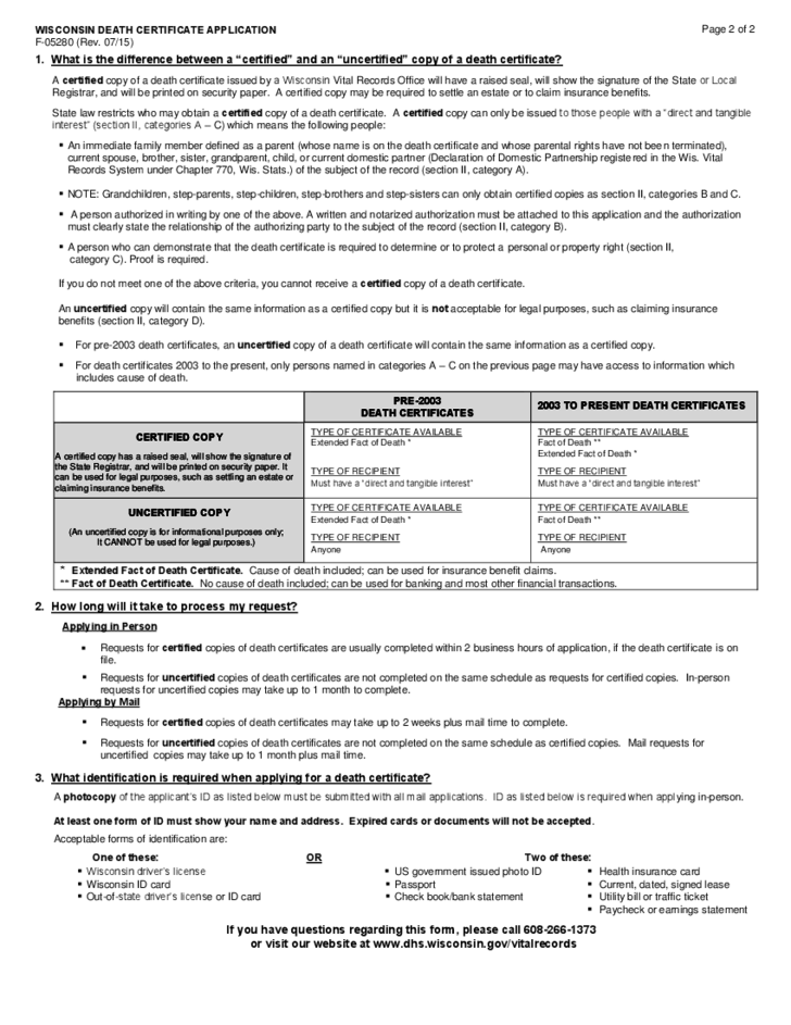 Death Report Form Wisconsin Free Download