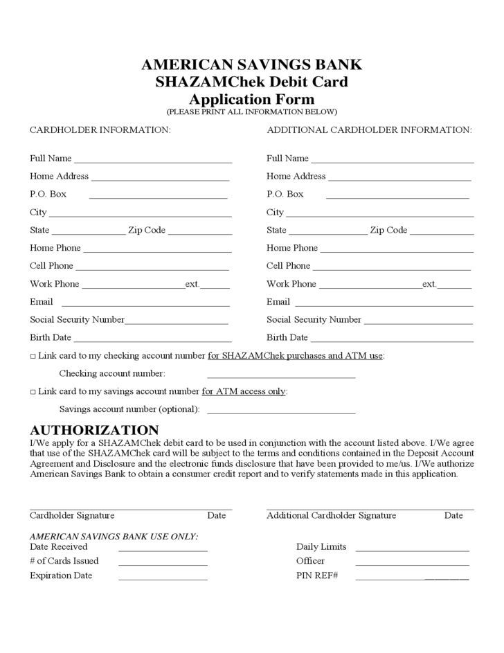 Debit Card Application Form America Free Download