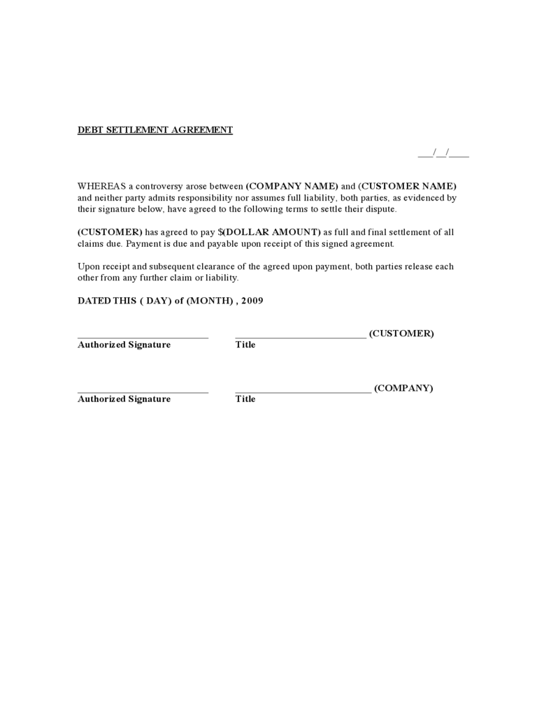 Debt Settlement Agreement Form - 3 Free Templates in PDF, Word ...