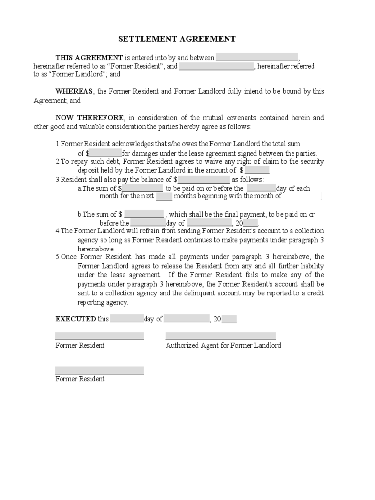 debt settlement agreement sample