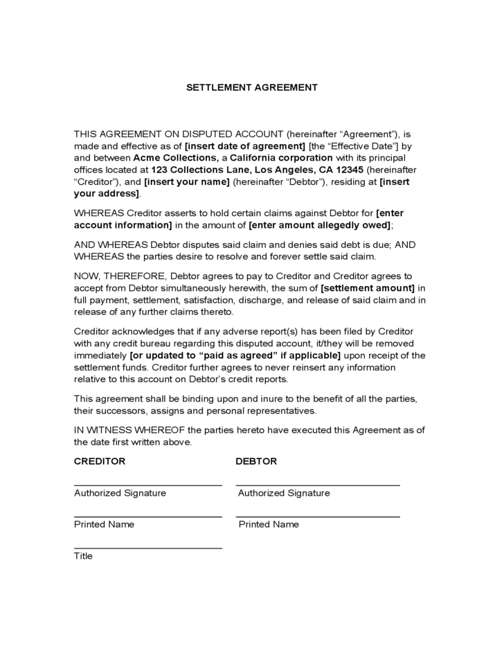 Settlement Agreement Free Download