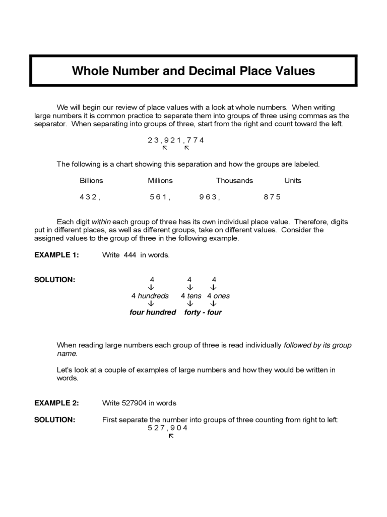 Whole Number and Decimal Place Values