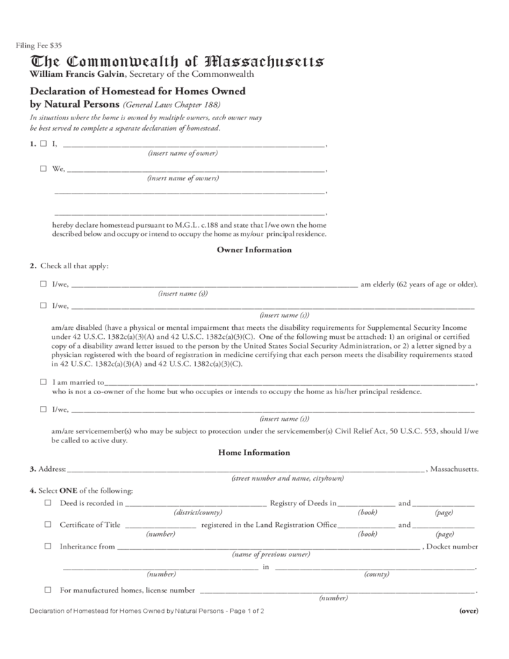Declaration of Homestead for Homes Owned by Natural Persons - The Commonwealth of Massachusetts