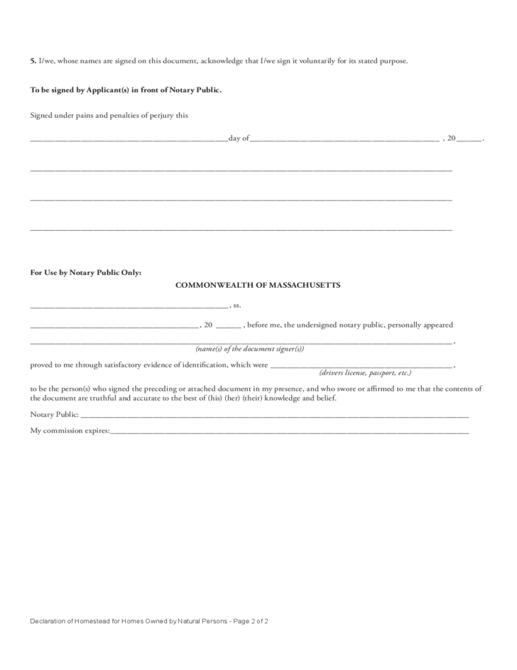 Declaration of Homestead for Homes Owned by Natural Persons - The ...